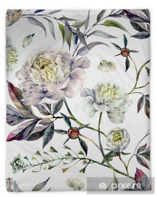 Watercolor White Peonies Pattern Plush Blanket - Plants and Flowers