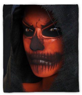 Plyshfilt 3d rendering av ett ansikte med halloween pumpa makeup nr 2.