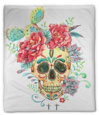 Plyshfilt Akvarellkort med skalle och rosor
