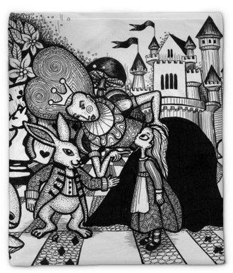 Plyshfilt Alice i Wonderland story handritad kontur med textur isolerad på den vita bakgrunden