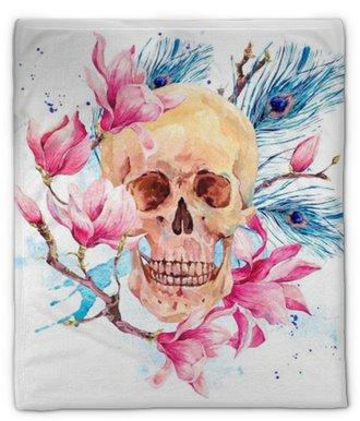 Plyshfilt Vattenfärg mänsklig skalle och rosa blommor magnolia