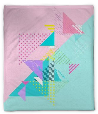 Plyšová deka Abstraktní barevné geometrické složení
