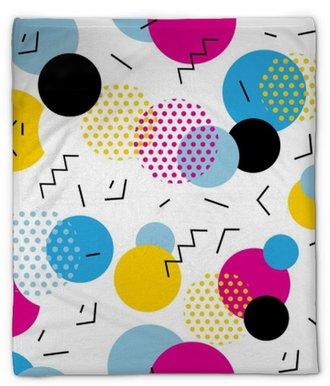 Plyšová deka Bezproblémový geometrický vzor ve stylu retro 80s. pop art kruhy, čáry, cikcak vzor na bílém pozadí.
