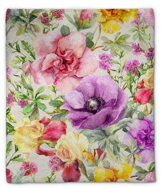 Plyšová deka Květiny na louce. bezešvé květinovým vzorem. vodové barvy