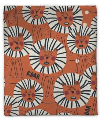 Plyšová deka Roztomilý vzor bezešvé s nebezpečným levem. ideální pro dětské oblečení, textilie, textil, dekorace školky, balicí papír. módní skandinávské vektor vzor.