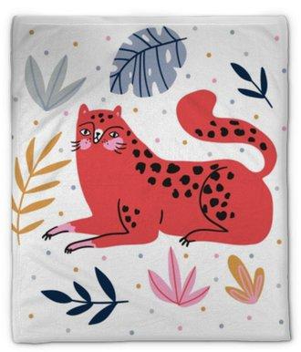 Plyšová deka Ručně kreslené ilustrace s divoké kočky a tropické listy na pozadí puntíky - pro domácí dekor, tričko tisk, plakát, blahopřání. kreativní roztomilý vektorové ilustrace s leopard.