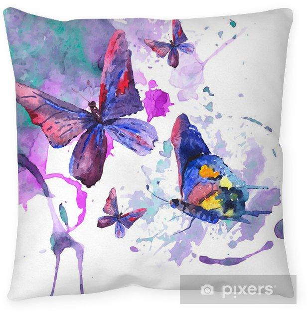 Poduszka dekoracyjna Abstrakcyjna Akwarele tła z motyli - Tematy