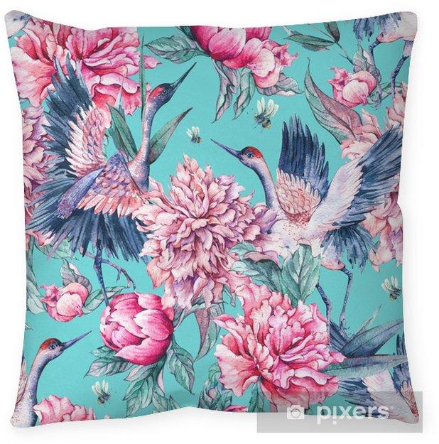 Poduszka dekoracyjna Akwarela bezszwowe wzór z dźwigiem, różowe piwonie - Rośliny i kwiaty