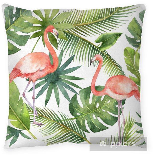 Poduszka dekoracyjna Akwarela bezszwowe wzór z flamingo i palmy na białym tle. - Rośliny i kwiaty