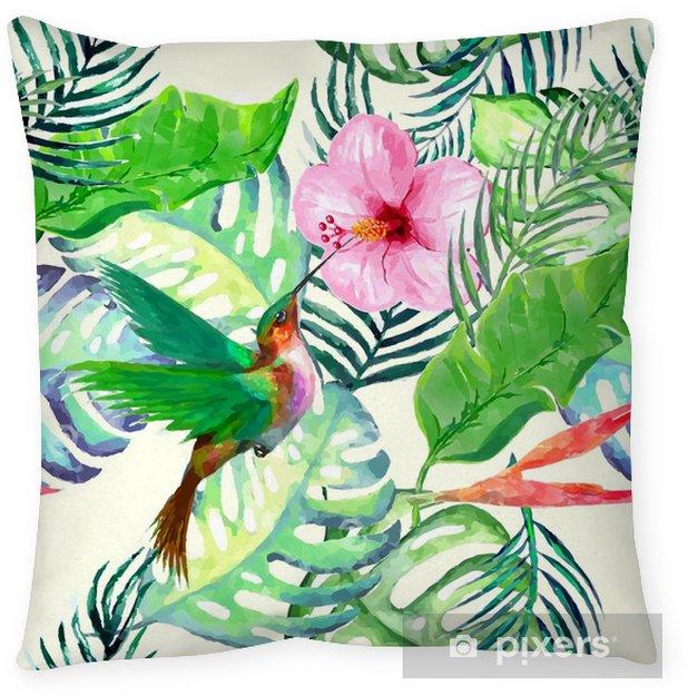 Poduszka dekoracyjna Akwarela dzikie egzotyczne ptaki na kwiaty wzór na białym tle. - Zwierzęta