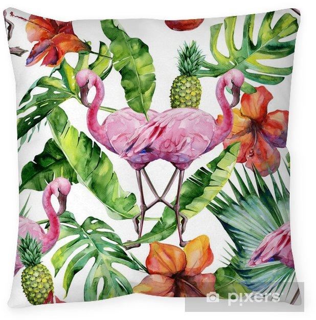 Poduszka dekoracyjna Akwarela ilustracja tropikalny różowy ptak flamingo. modne grafiki z motywem tropic summertime. egzotyczna sztuka Hawajów. bez szwu wzór lustra. - Zwierzęta