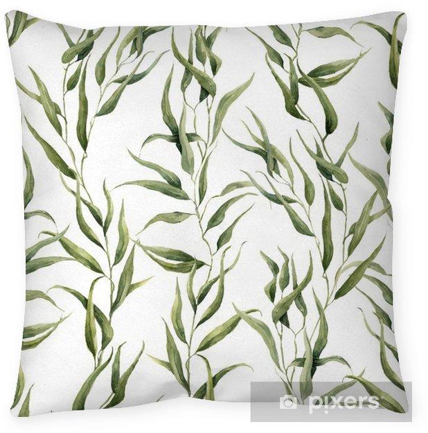 Poduszka Dekoracyjna Akwarela Zielony Kwiatowy Szwu Z Liści Eukaliptusa Ręcznie Malowany Wzór Z Gałęzi I Liści Eukaliptusa Izolowana Na Białym Tle