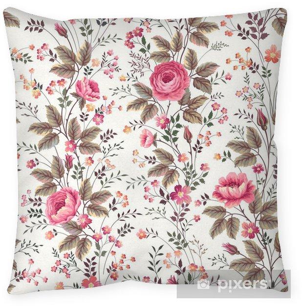 Poduszka dekoracyjna Bez szwu kwiatowy wzór wzrosła na białym tle - Rośliny i kwiaty