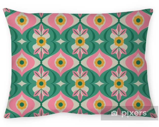 Poduszka dekoracyjna Bez szwu retro wzór z kwiatów i liści - Zasoby graficzne
