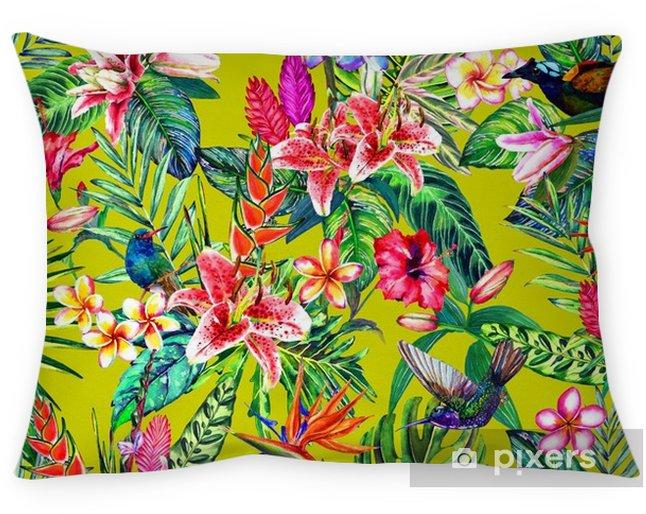 Poduszka Dekoracyjna Bez Szwu Tropikalnych Kwiatowy Wzór Ręcznie Malowane Akwarela Egzotycznych Liści Kwiatów I Ptaków Na Zielonym Tle Cytrusowych