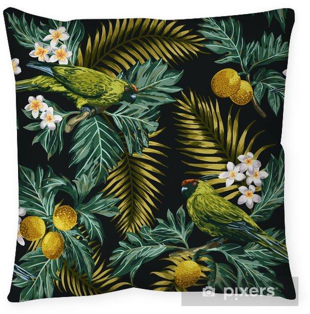 Poduszka dekoracyjna Bezszwowe tropikalny wzór z liści, kwiatów i papugi. - Zwierzęta