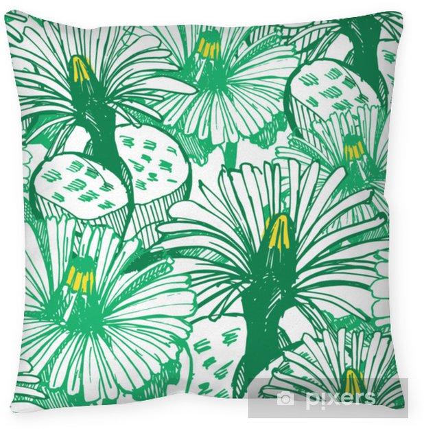 Poduszka dekoracyjna Botaniczne zielone tło. - Rośliny i kwiaty