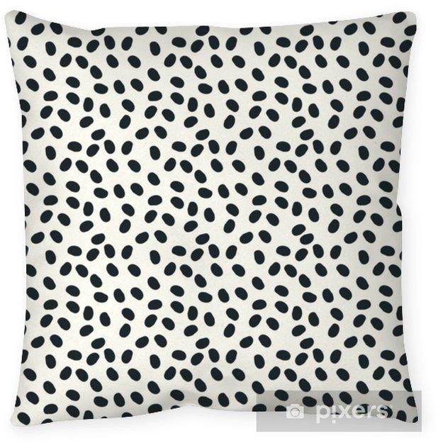 Poduszka dekoracyjna Czarno-białe kropki bezszwowe tło wektor powtórzyć - Zasoby graficzne