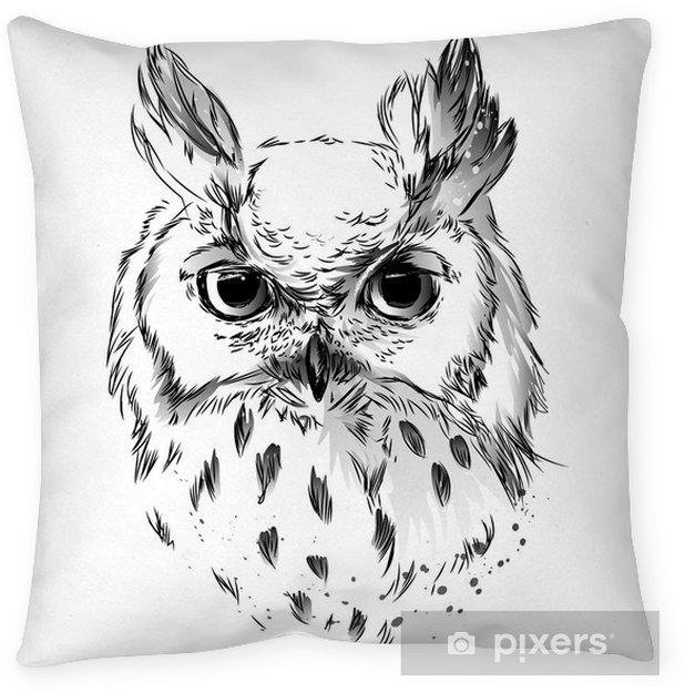 Poduszka dekoracyjna Czarny i biały rysunek sowy głowy - Zwierzęta