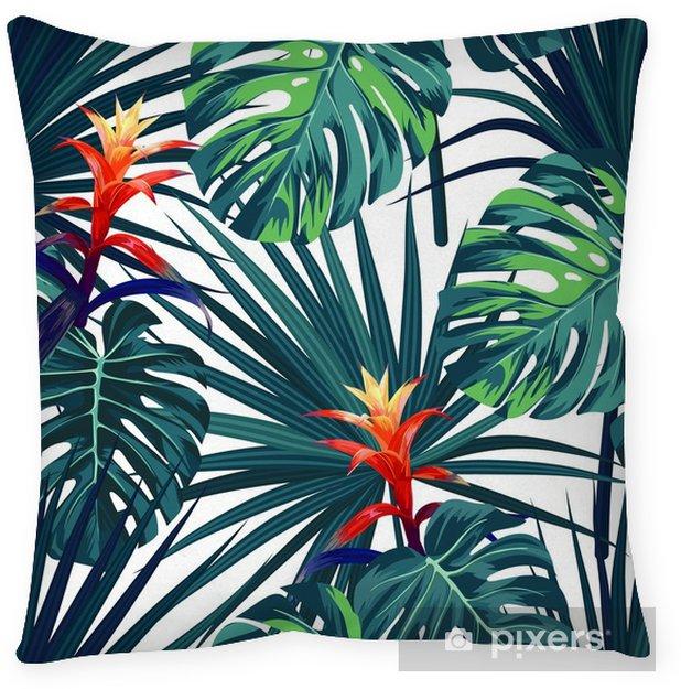 Poduszka Dekoracyjna Egzotyczne Tropikalny Tło Z Hawajskich Roślin I Kwiatów Bezszwowe Wektor Wzór Z Zielonych Liści Monstera I Sabal Guzmania