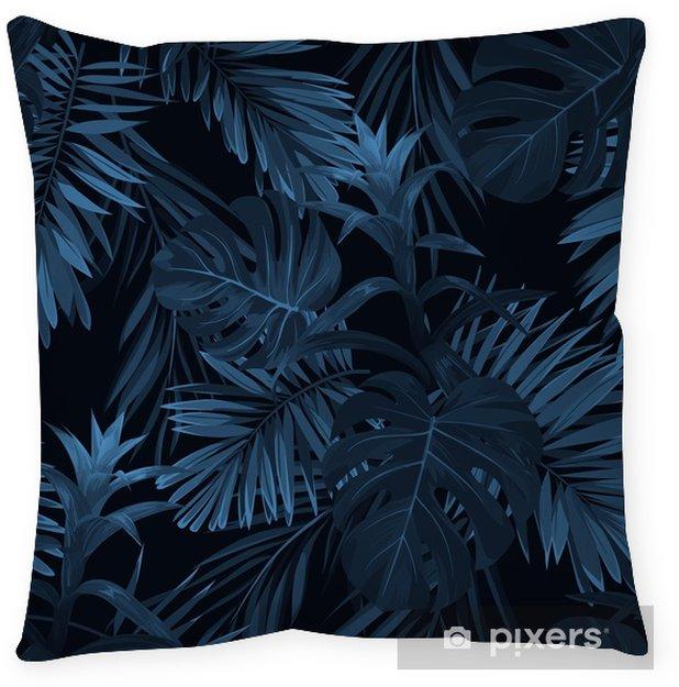 Poduszka dekoracyjna Egzotyczny tropikalny vrctor tło z hawajskimi roślinami i kwiatami. bez szwu indygo tropikalny wzór z monstera i sabal liści palmowych, kwiaty guzmania. - Rośliny i kwiaty