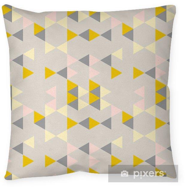 Poduszka dekoracyjna Geometryczny abstrakcyjny wzór z trójkątami w stonowanych kolorach retro. - Zasoby graficzne