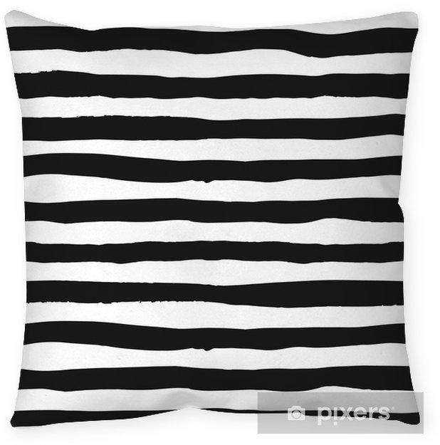 Poduszka dekoracyjna Grunge szwu czarno-białych linii, bezszwowe tło grunge monochromatyczne paski, ręcznie rysowane wektor wzór włókienniczych, tapety, projektowanie stron internetowych, pakowanie, tkaniny, papier - Zasoby graficzne