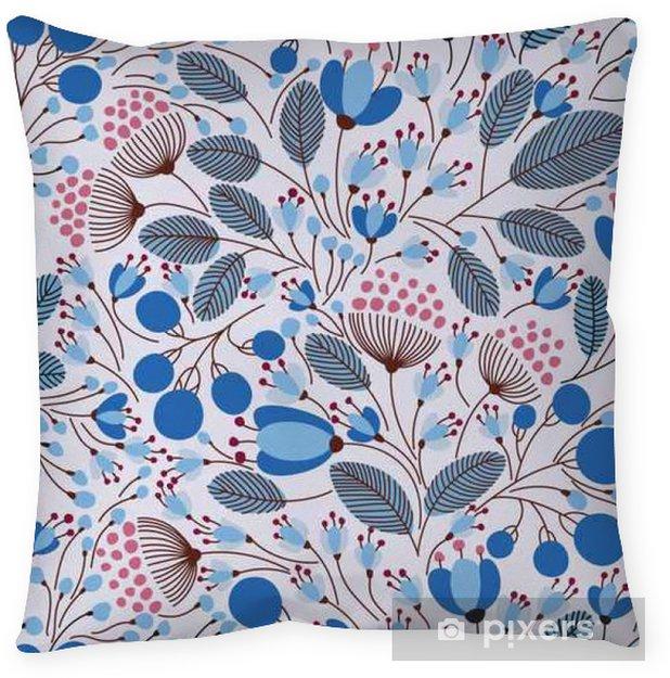 Poduszka dekoracyjna Ilustracji Elegancki szwu z kwiatami wektor - Rośliny i kwiaty