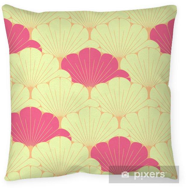 Poduszka dekoracyjna Japoński styl bez szwu dachówka z egzotycznym wzorem liści w kolorze różowym - Zasoby graficzne
