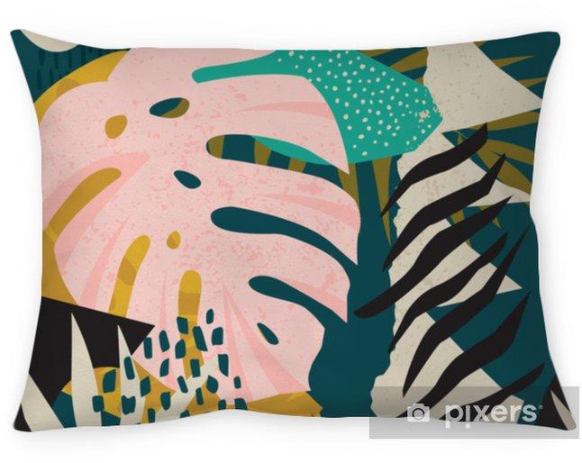 Poduszka dekoracyjna Kolaż współczesny kwiatowy hawajski wektor wzór. bezszwowa powierzchnia. - Hobby i rozrywka