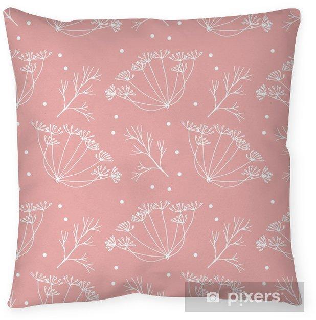 Poduszka dekoracyjna Koperek lub kopru kwiatów i liści wzorca. - Rośliny i kwiaty