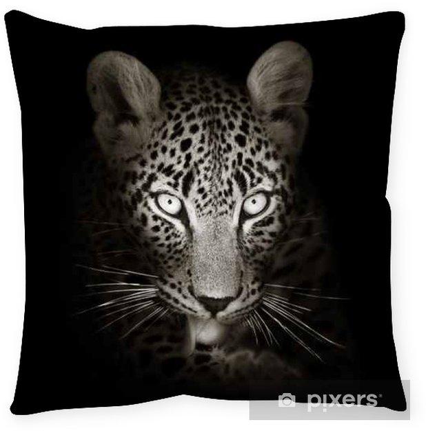 Poduszka dekoracyjna Leopard w stonowanych portret b & w - Ssaki