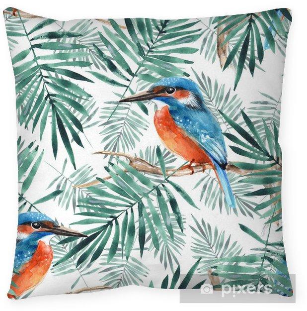 Poduszka dekoracyjna Liście i zimorodek 1. wzór z ptaków i roślin - Zasoby graficzne