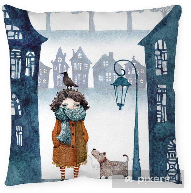 Poduszka Dekoracyjna Mała Dziewczynka W Mglisty Miasto Spaceru Z Psem I Ptak Wycięte Z Papieru Sylwetki Domów I Drzew Ilustrowane Akwarelą