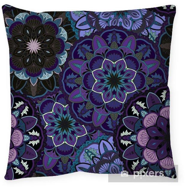 Poduszka dekoracyjna Okrągły ornament bez szwu do drukowania na tkaninie lub papierze. ręcznie rysowane tła. elementy Twojego projektu. - Zasoby graficzne