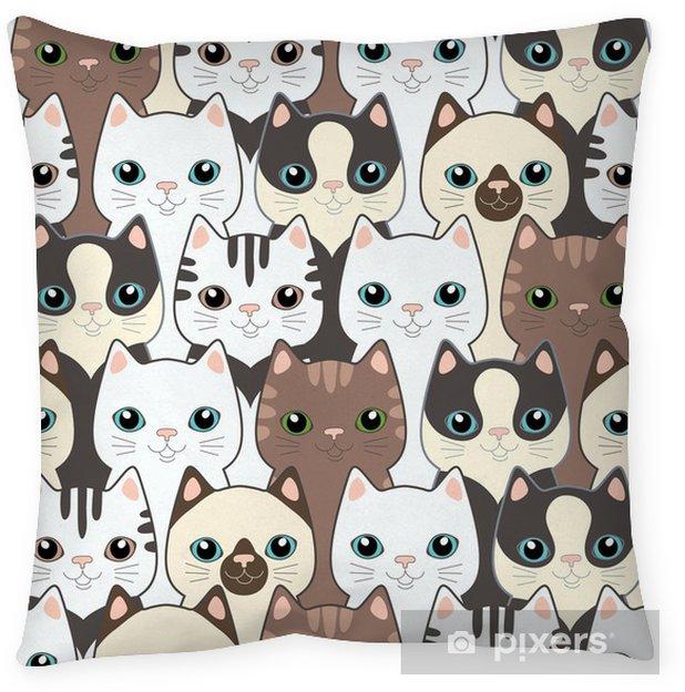 Poduszka dekoracyjna Śmieszne koty kreskówek. powtarzalne wzór - Tematy