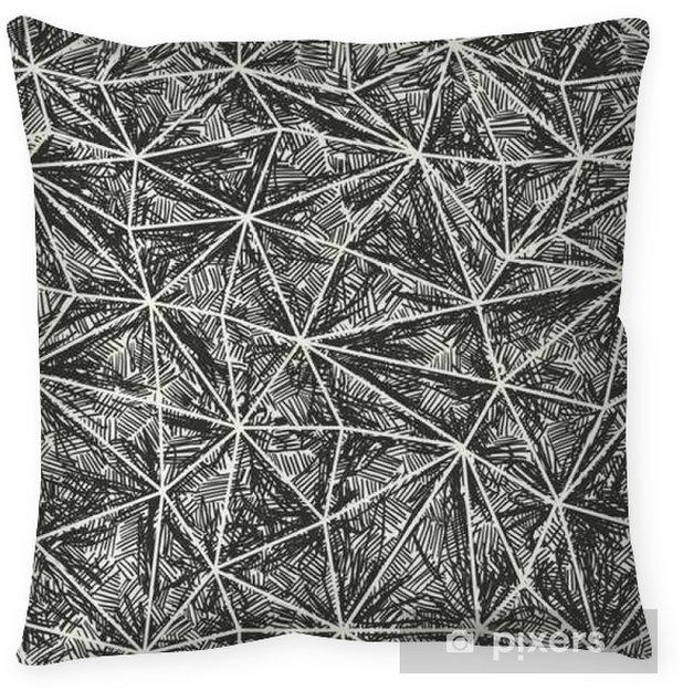 Poduszka dekoracyjna Streszczenie ręcznie rysowane wzór artystyczny. Ramkę trójkąt struktura - Zasoby graficzne