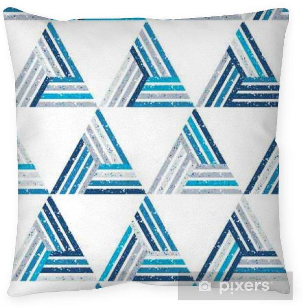Poduszka dekoracyjna Streszczenie szwu z wielu trójkątów i paski. Teksturą tle. - Zasoby graficzne