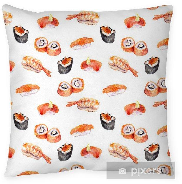 Poduszka dekoracyjna Sushi, Susi, rolki, Gunkan powtarzany wzór owoce. Akwarela - Jedzenie