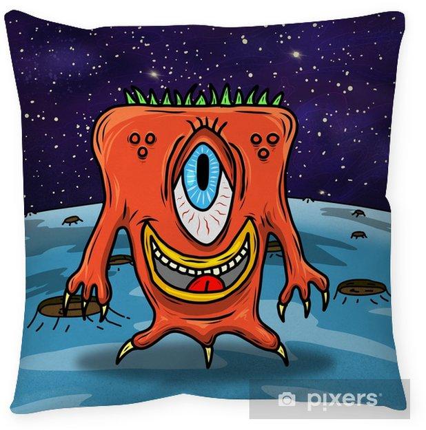 Poduszka dekoracyjna Szalona dziwna kosmita lub potwór na niebieskiej planecie, asteroidzie lub księżycu. oryginalna kolorowa ilustracja - Zwierzęta