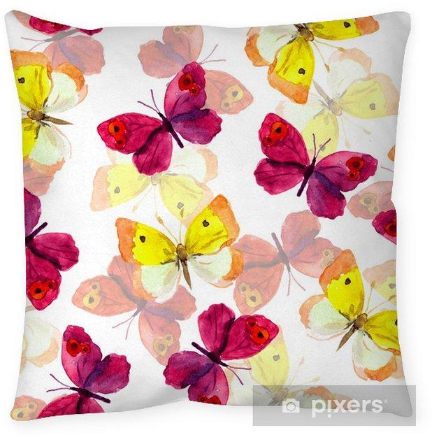 Poduszka dekoracyjna Tapeta bez szwu wiosna z kolorowych akwarela ręcznie malowane motyle - Zasoby graficzne