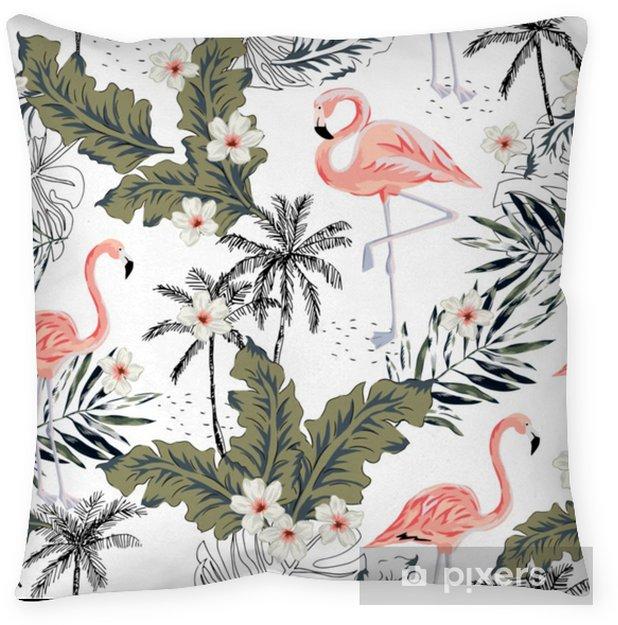 Poduszka dekoracyjna Tropikalne różowe ptaki flamingo, kwiaty plumeria, liście palmowe, drzewa białe tło. wektor wzór. ilustracja graficzna. egzotyczne rośliny dżungli. kwiatowy wzór lato plaża. rajska przyroda - Zwierzęta