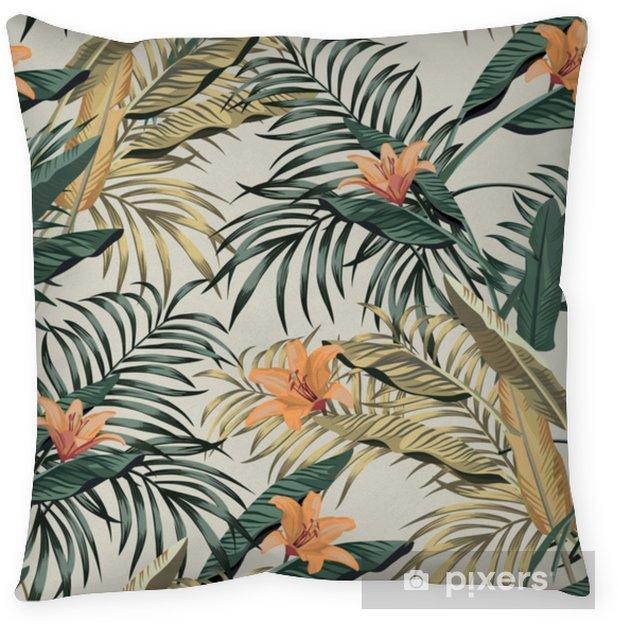 Poduszka dekoracyjna Tropikalny banan pozostawia kwiaty bez szwu - Rośliny i kwiaty