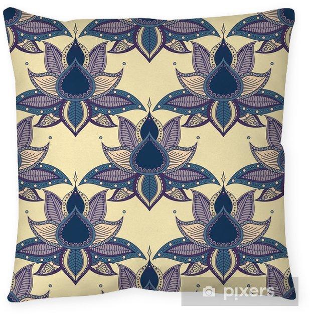 Poduszka dekoracyjna Vintage graficzny wektor indyjski lotos mandala etniczne szwu. abstrakcyjne tło z kwiatami - Zasoby graficzne