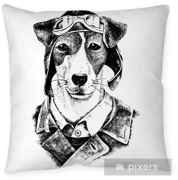 Poduszka Dekoracyjna Wyciągnąć Rękę Przebrany Pies Lotnik
