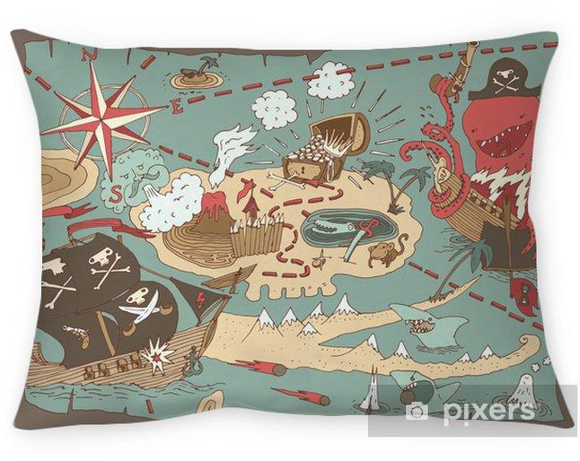 Poduszka dekoracyjna Wyspa Treasure Map (mapa pirata), ilustracji wektorowych -