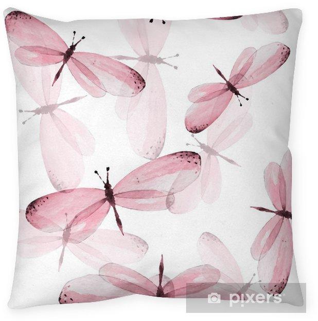 Poduszka dekoracyjna Wzór motyli. Jednolite tło wektor. Ilustracja akwarela 10 - Zwierzęta