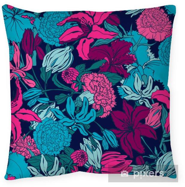 Poduszka dekoracyjna Wzór z lilii, ylang, róże, kwiaty goździka. kolorowa wektorowa ilustracja. drukuj na tekstylia domowe i odzież, tkaniny, tekstylia - Zasoby graficzne