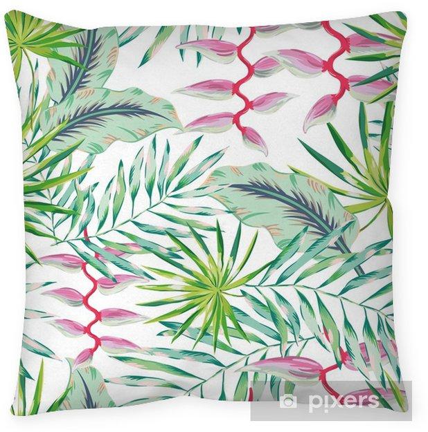 Poduszka Dekoracyjna Zielone Liście Palmowe I Różowy Kwiat Heliconia Na Białym Tle Wektor Wzór Tropikalna Ilustracja Ulistnienie Dżungli