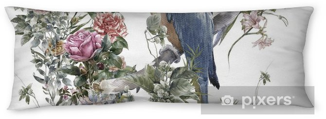 Poduszka relaksacyjna Akwarela malarstwo z ptaków i kwiatów, wzór na białym tle - Zasoby graficzne